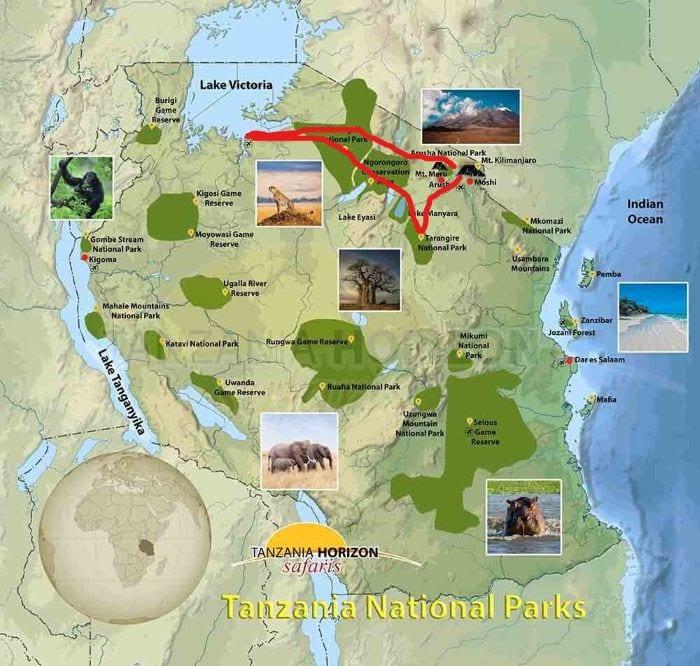 Маршрут сафари в Танзании